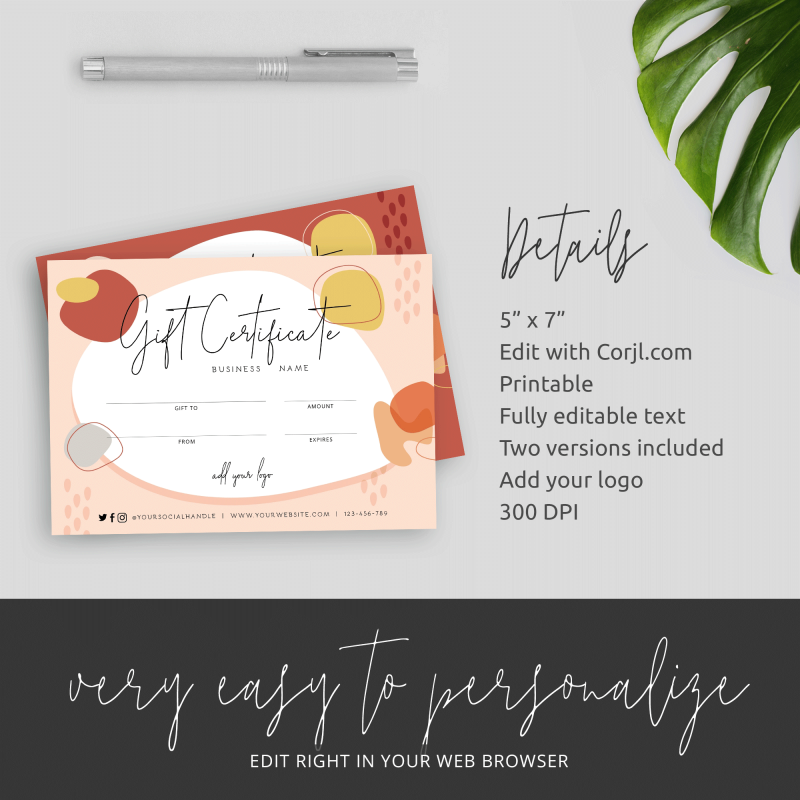 Fall theme gift certificate