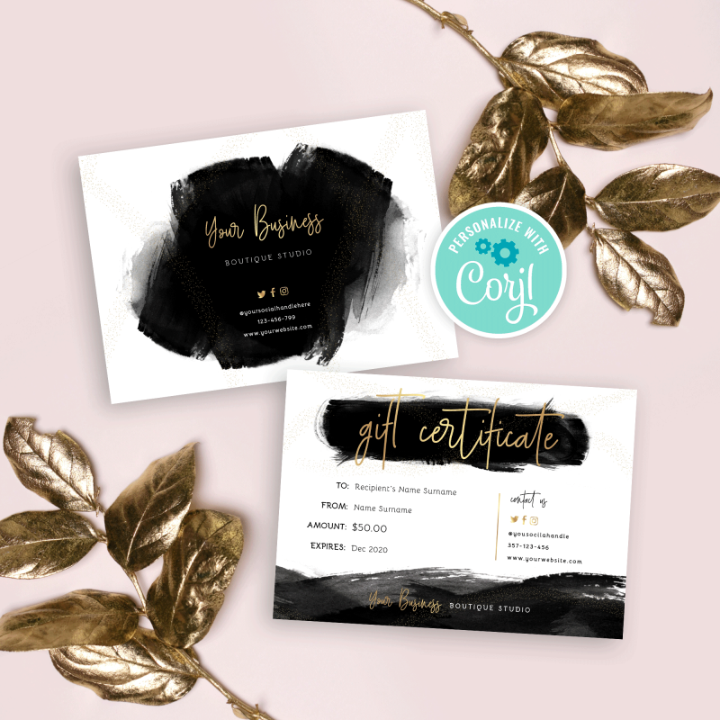 black watercolour and gold gift certificate design