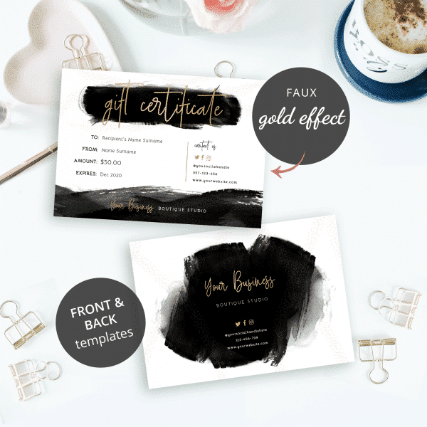 black and gold gift card template