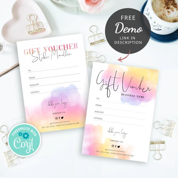 multi colour ink splash gift voucher