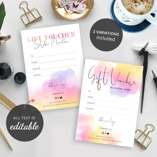 watercolour background gift cards