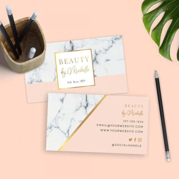 marble and gold business card design