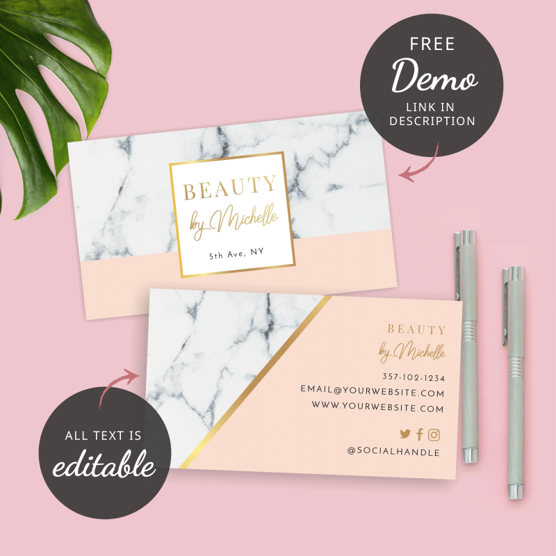 marble effect business card template