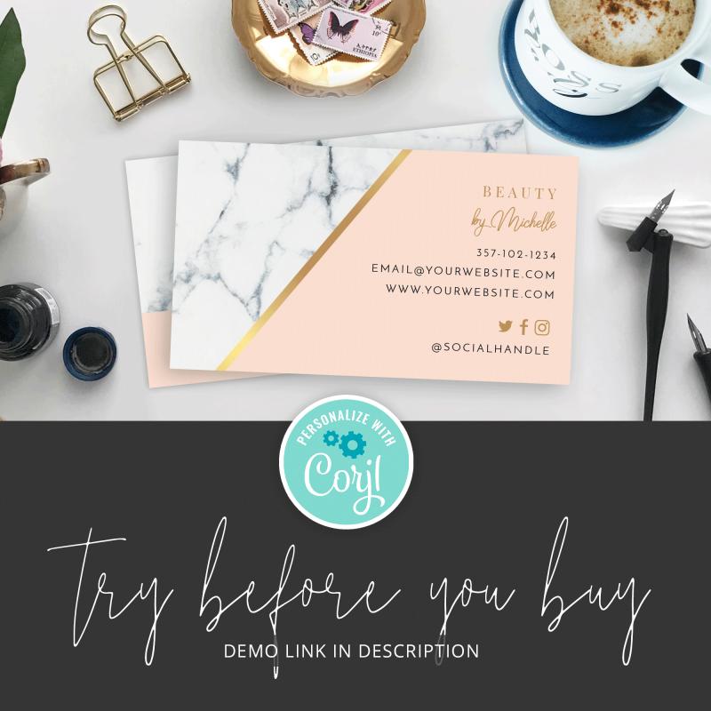 faux gold business card design