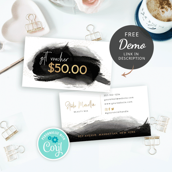 black and gold gift voucher