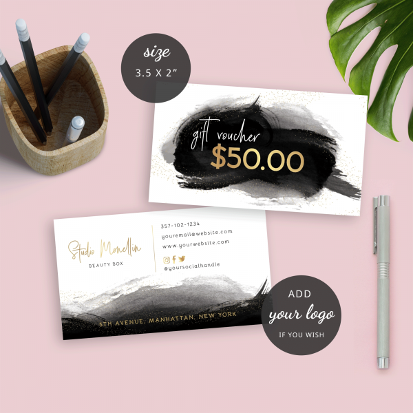 small gold foil gift certificate