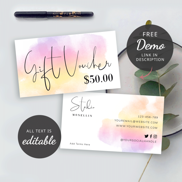 colourful gift card design