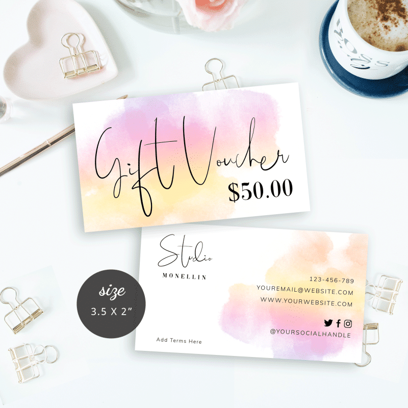 watercolour gift certificate template
