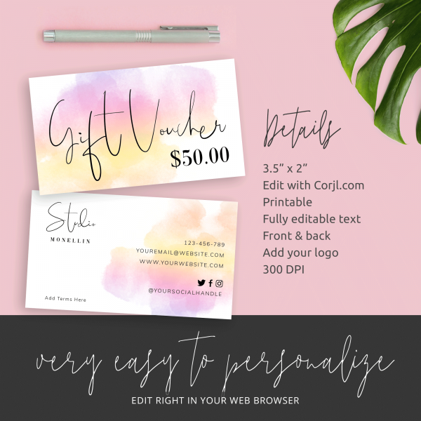 watercolour background gift vouchers