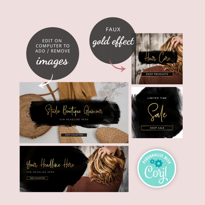 online banner designs black watercolour and gold