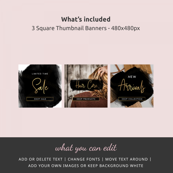 three square thumbnail website banners