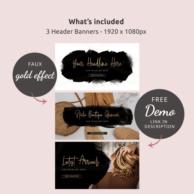 website branding kit black watercolour and gold