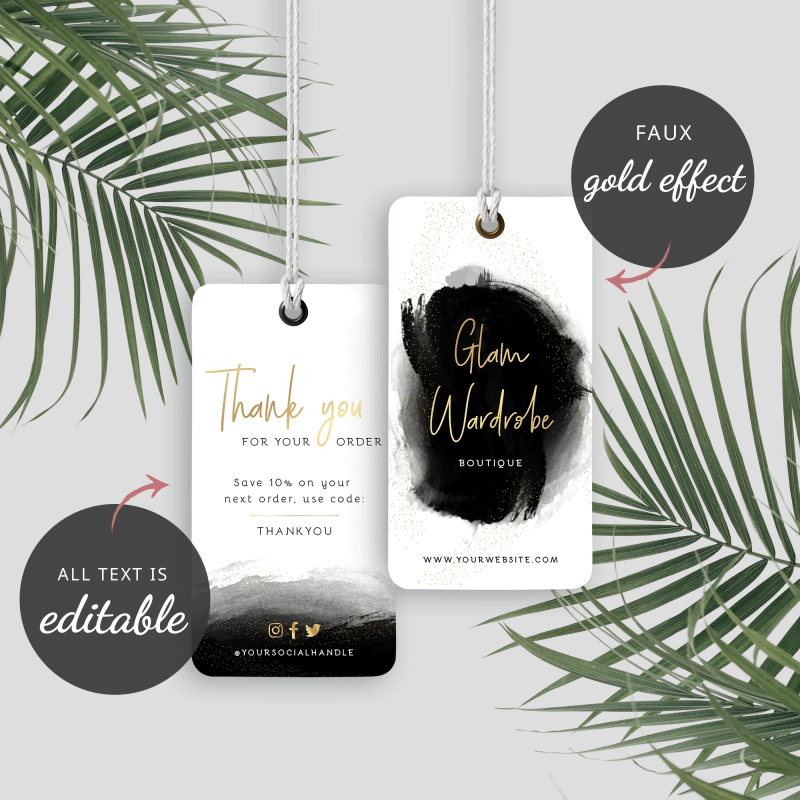 black and gold clothing tags