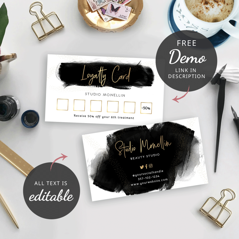 black and gold loyalty cards