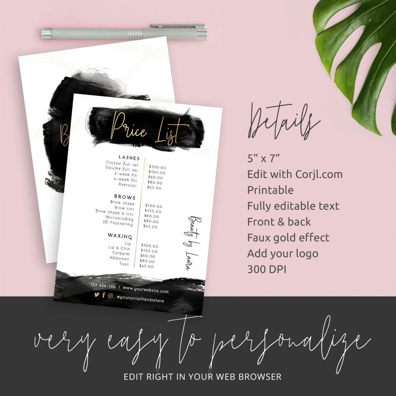 editable salon price list