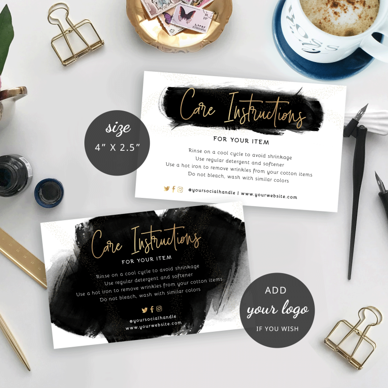 editable care instructions template