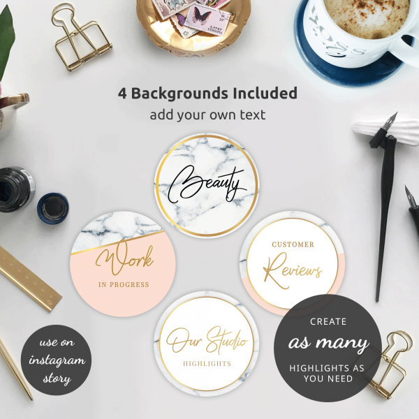 Marble & gold Instagram Story Templates