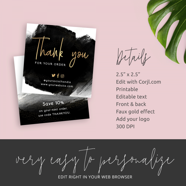 gold foil thank you card business
