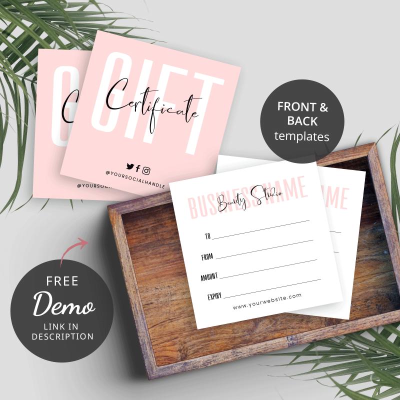 feminine gift certificate design
