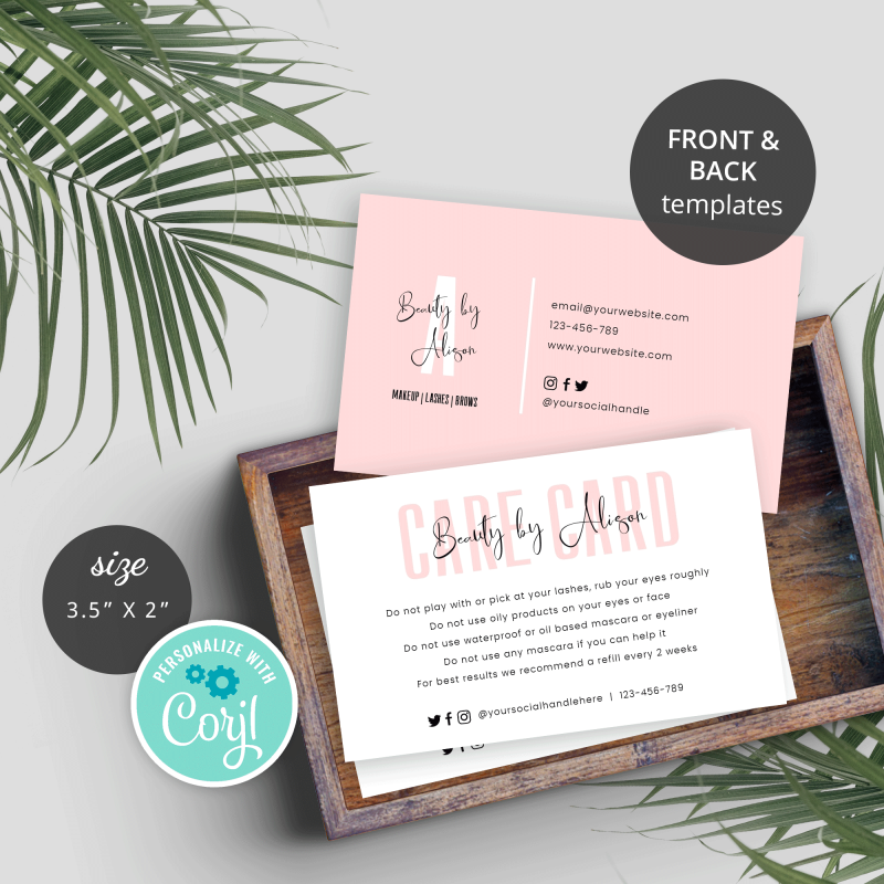 Beauty Care Instructions Cards