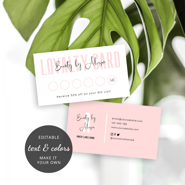 pink loyalty cards design