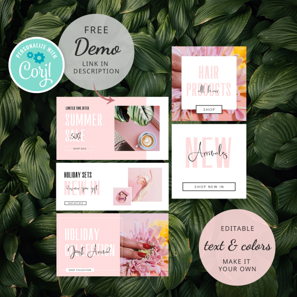 pink website banner set
