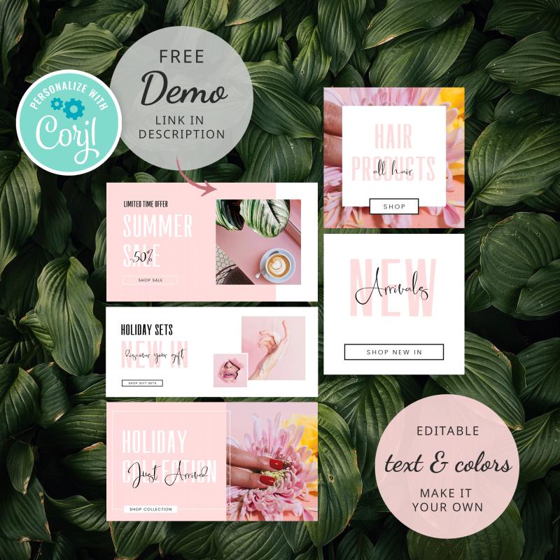 pink website banner set