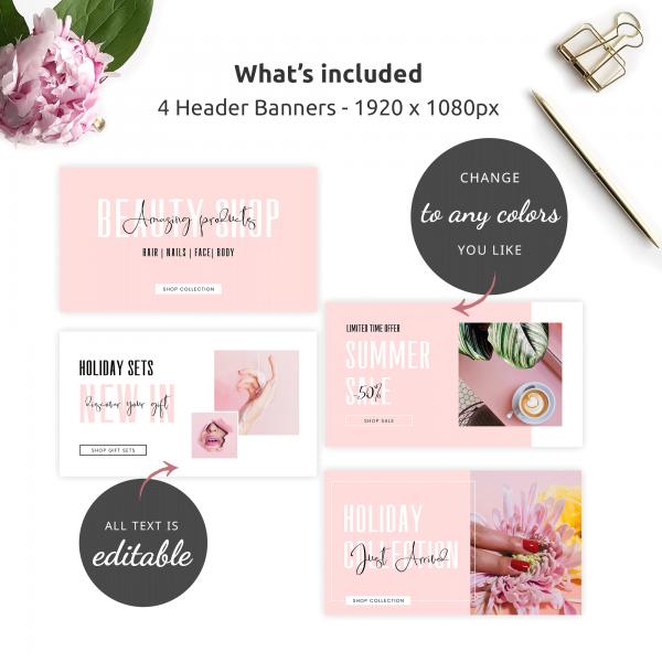 feminine pink online store banners design