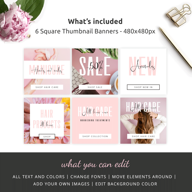 six pink website thumbnails banners