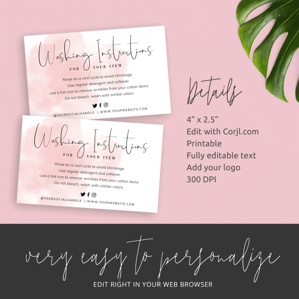 Custom Product Care Instructions Card