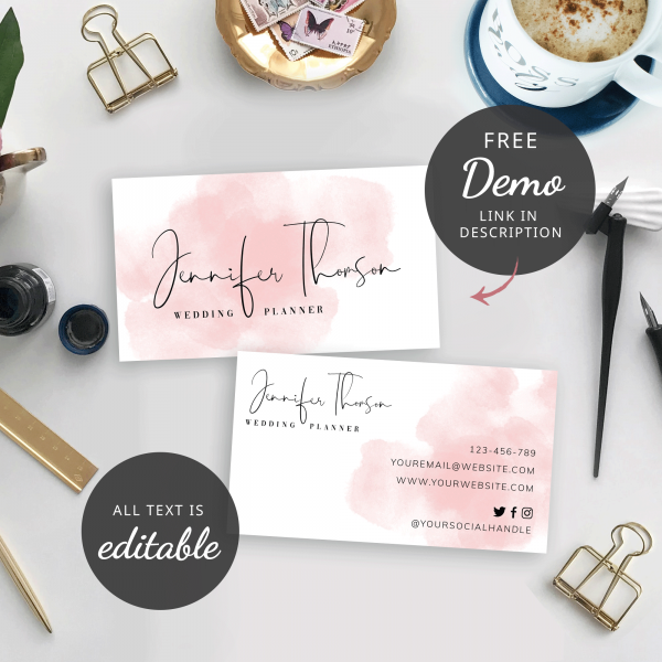 pink watercolour business cards
