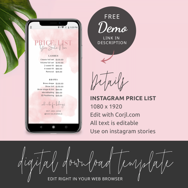 pink watercolour instagram price list