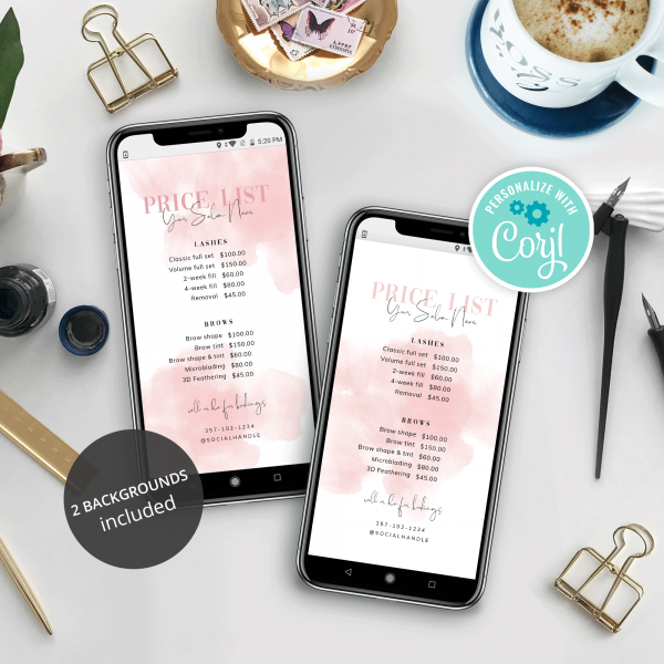 Instagram Story Price List Template