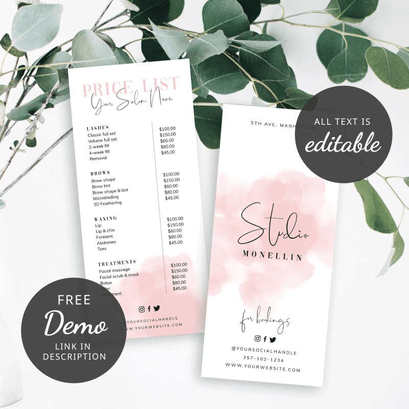 pink watercolor price sheet
