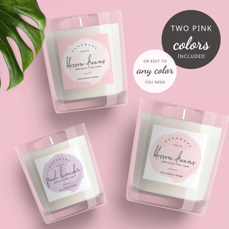 round watercolor candle label templates