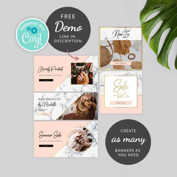 marble and gold website banners