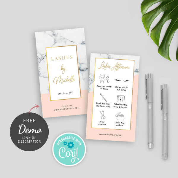 eyelashes care card template