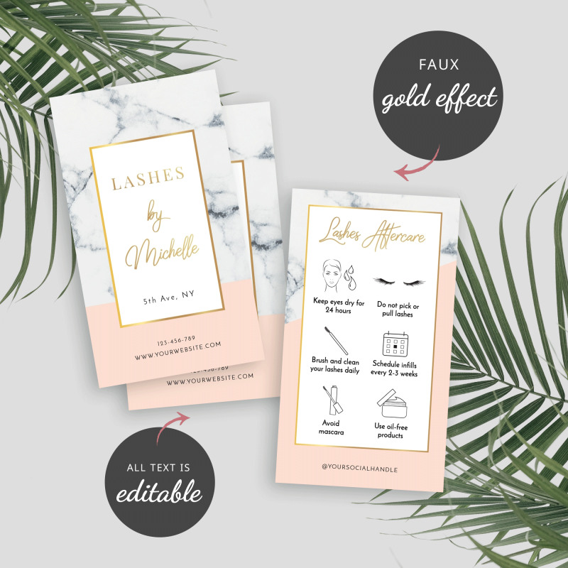 lashes aftercare cards