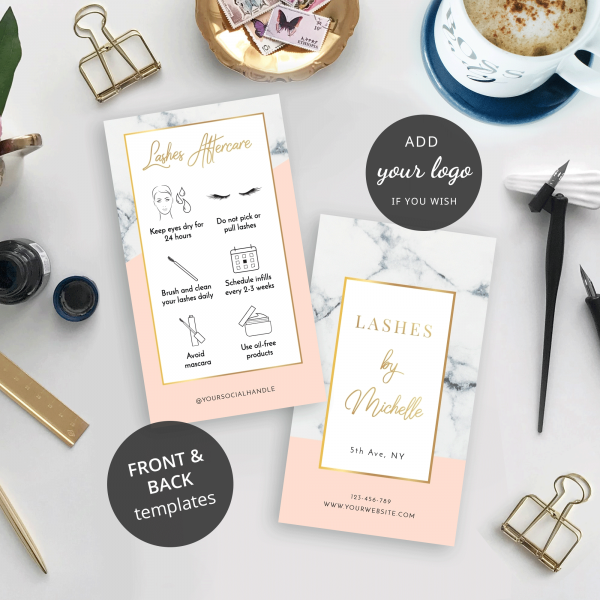 faux lashes care card design