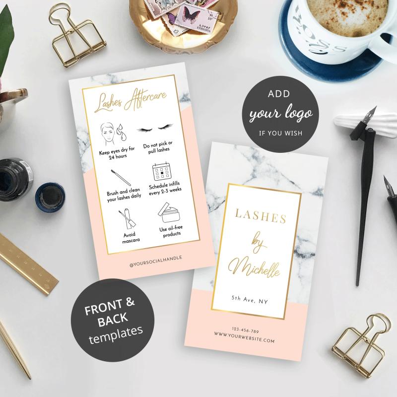 faux lashes care card design