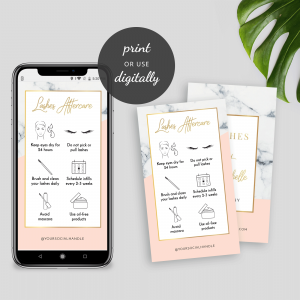 Lashes Aftercare Card Template