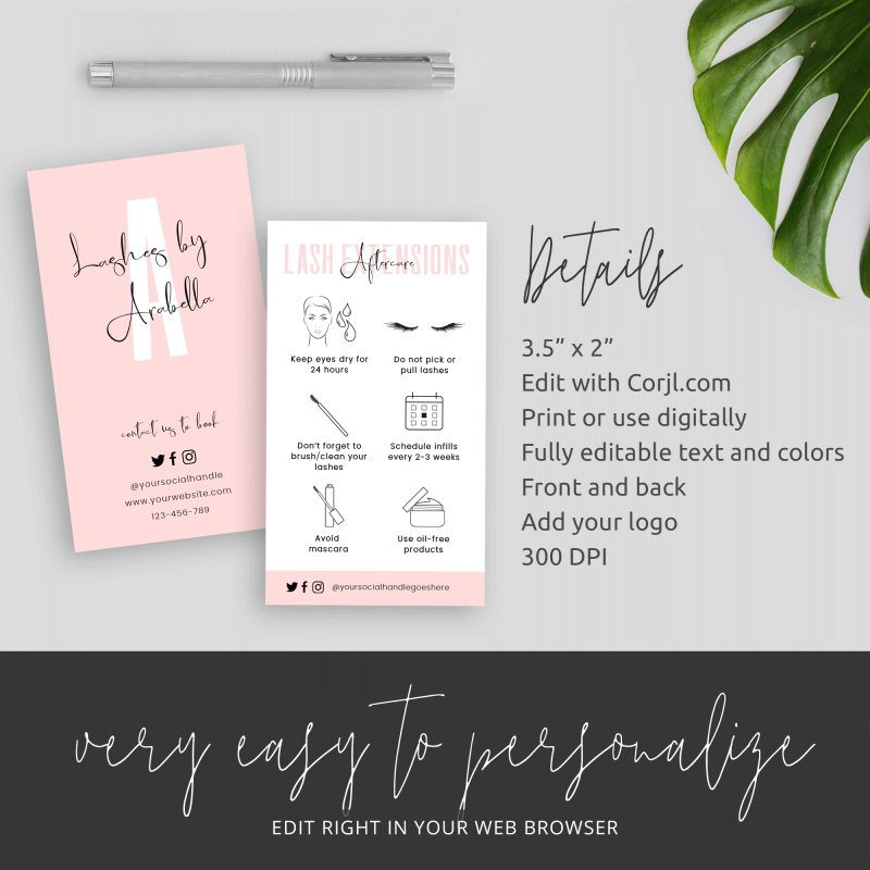 eyelash aftercare template
