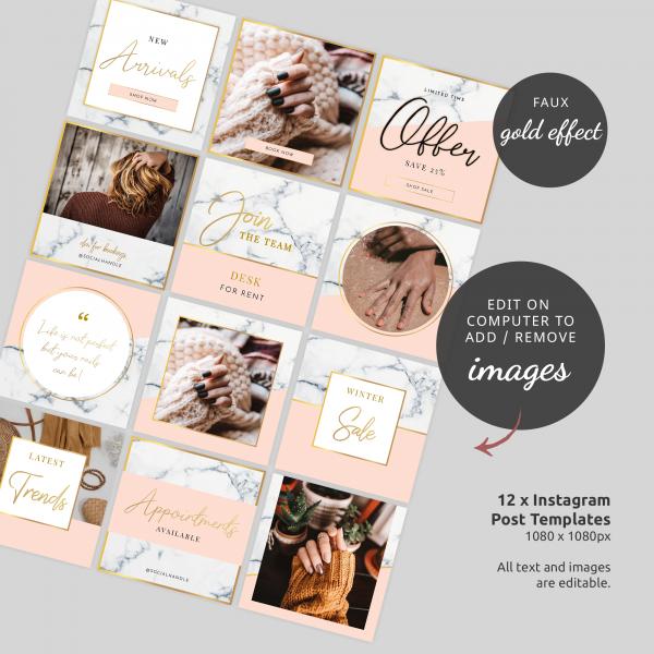 marble and gold instagram branding kit