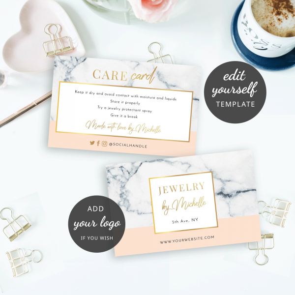 DIY care instructions card