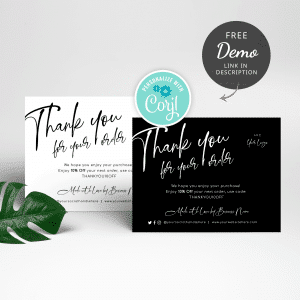 minimalist black and white thank you card templates