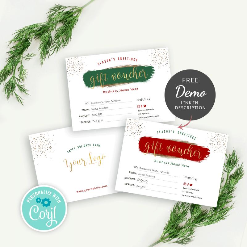 festive gift certificate