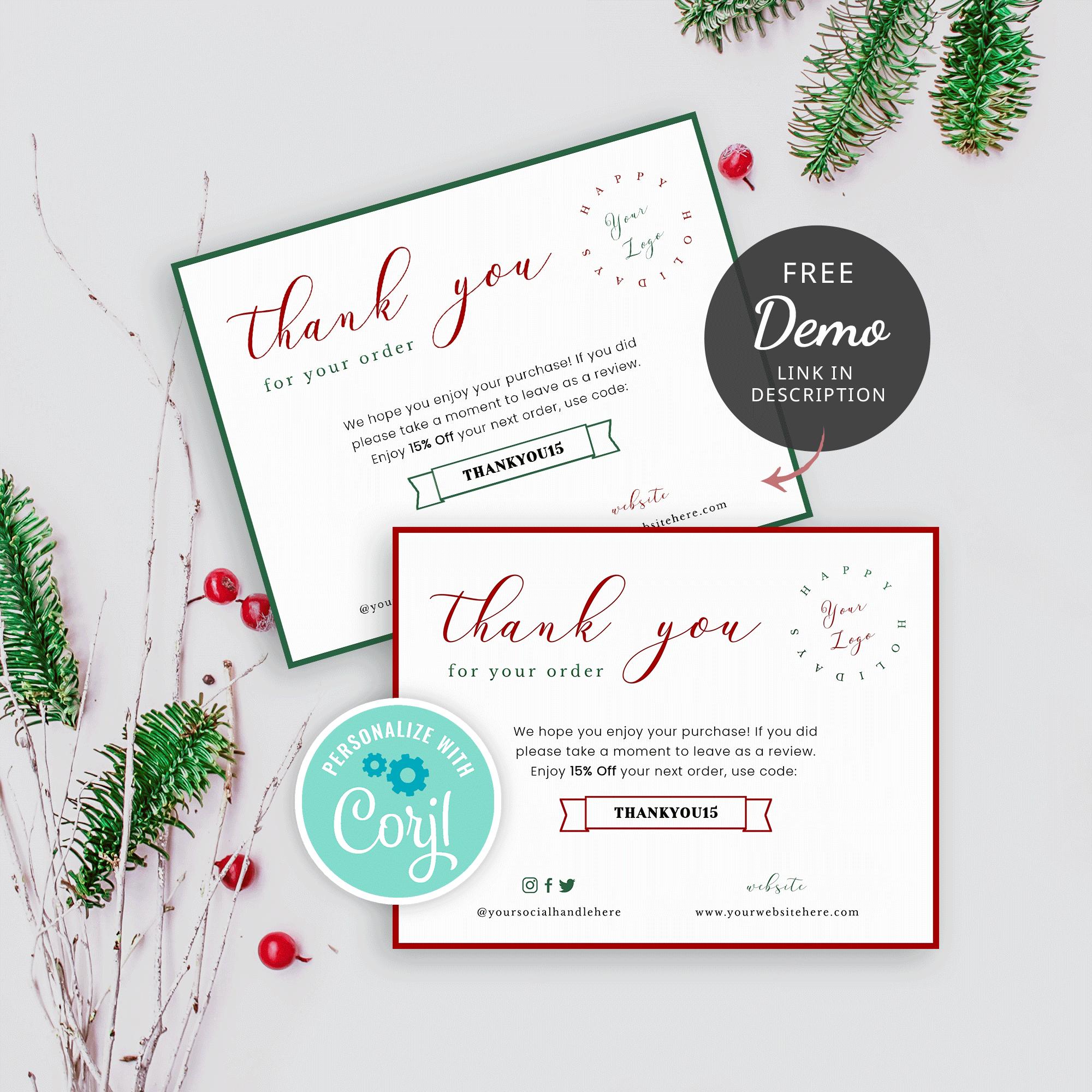 christmas thank you card template  editable thank you