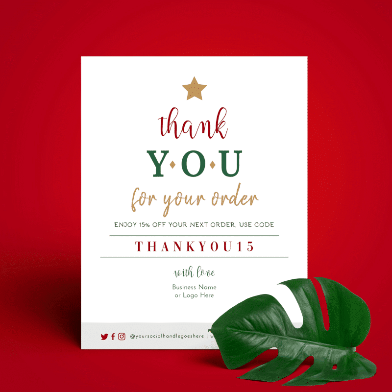 christmas thank you for your order template