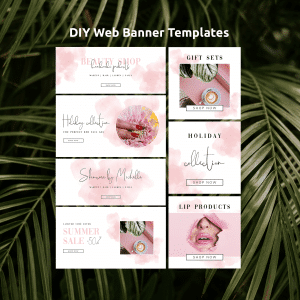 pink watercolor website banner templates
