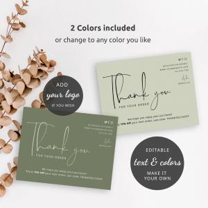 sage green minimalist thank you card templates